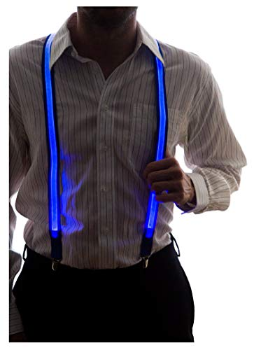 Neon Nightlife Men's Light Up LED Suspenders, One Size, Blue -