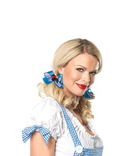 Gingham Bow - Leg Avenue Women's Satin and Gingham Hair Bows Adult Costume, Blue/White, One Sizes Fit Most