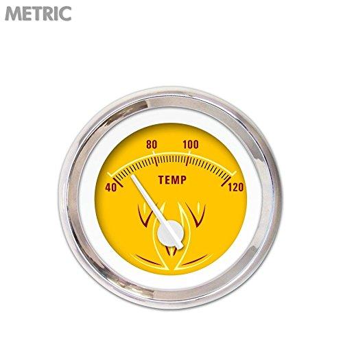 Aurora Instruments 5725 Pinstripe II Yellow Metric Water Temperature Gauge (White Modern Needles, Chrome Trim Rings, Style Kit Installed) ()