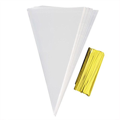 (Cone Treat Bags Clear Cone Bags 200 PCS Clear Cello Bags with 200 Twist Ties for Gift,Candy, Crafts (200 PCS))