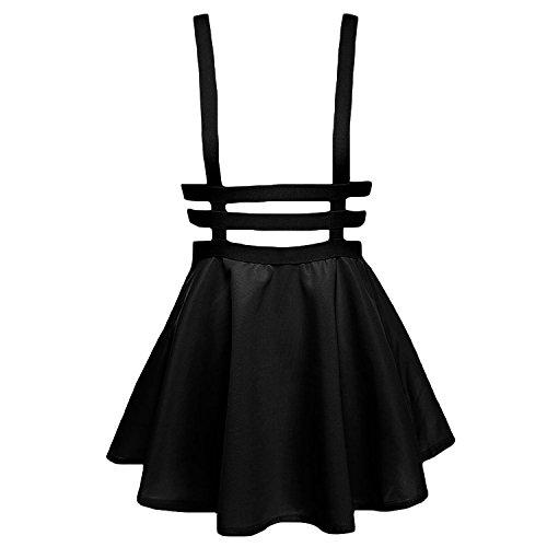Womens Preppy Pleated Short Braces Skirt Dress (Black) - 2