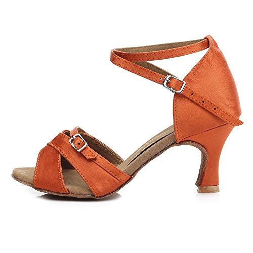 Orange 7cm Latino Yff Mujeres Baile Bajo Tacón Zapatos Profesional Las De zz6YvH