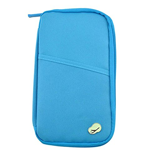 Loriver Travel Passport Tarjeta de Identificación de Crédito Cash Holder Organizer Wallet Purse Case Bag (Azul cielo)
