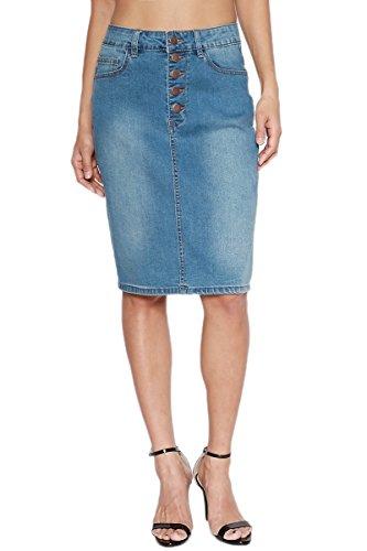 TheMogan Women's Button Fly Washed Denim Midi Pencil Skirt Medium