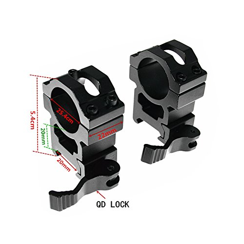 FIRECLUB 2pcs Quick Release Scope Rings Mounts Picatinny 1 Inch 25.4mm Diameter 20mm Weaver