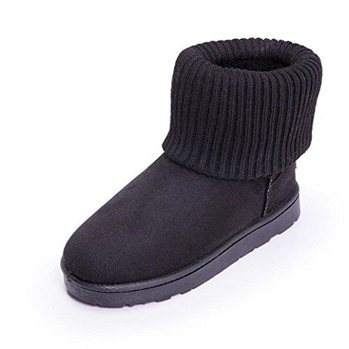 Transer® Damen Schnee Stiefel & Stiefeletten Warm Schuh Stoff+Plastik (Bitte achten Sie auf die Größentabelle. Bitte eine Nummer größer bestellen. Vielen Dank!) Black