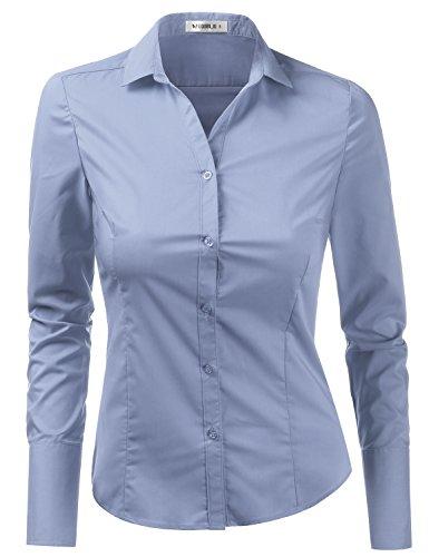 Doublju Womens Casual Long Sleeve Button Down Collared Shirt Denim (Ladies Long Sleeve Denim Shirt)