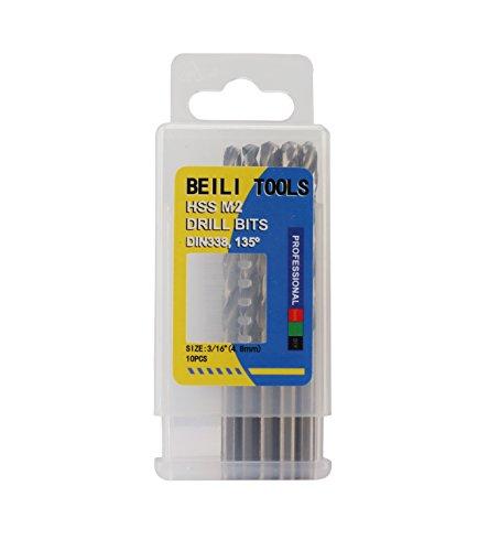 HSS M2 Metal Jobber Twist Drill Bits, Pack of 10 (3/16