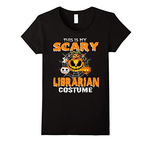 Womens This Is My Scary Librarian Costume T-shirt XL Black