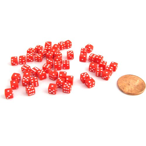 Koplow Games 50 Six Sided D6 5mm .197 Inch Die Small Tiny Mini Miniature Red Dice