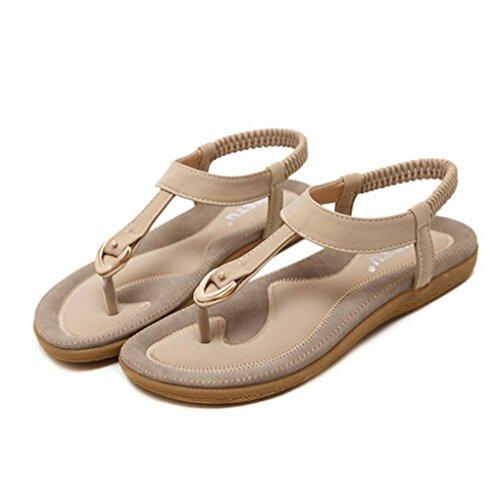 Yukong Women's Summer Sandal Fashion Flat Large Size Casual Rome Beach Shoes Beige