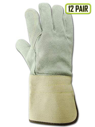 Magid Glove & Safety T374DPG-SP-L Top Gunn Full Leather Double Palm Gloves with Gauntlet Cuff and Spectra Lining, Large, Off White (Pack of 12)