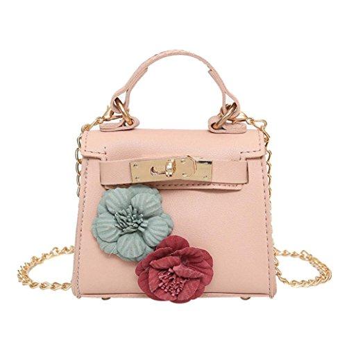 Fashion Shoulder Chain Leather Body Zipper Bag Bag Mini Flowers Messenger Girls Women Coin Shoulder Handbag Cross Ladies Pink gprgfwq