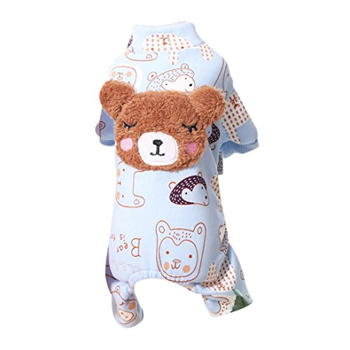 Dog Wearing Bear Costume (Pet Clothes,FUNIC Cute Bear Winter Warm Padded Thickening Coat Pet Dog Costumes Clothes (L, Blue))