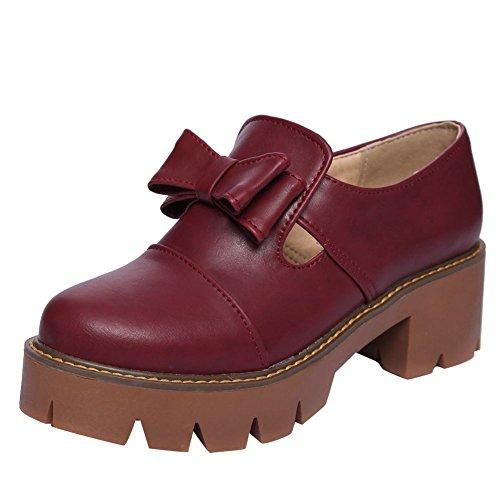 Mee Shoes Damen chunky heels Plateau Geschlossen Pumps Rot
