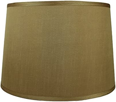 Urbanest French Drum Lampshade, Faux Silk, 12-inch by 14-inch by 10-inch, Gold, Spider-Fitter