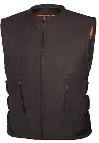 True Element Mens Swat Team Style Leather Motorcycle Vest with Side Size Adjustment (Black, M-Tall)