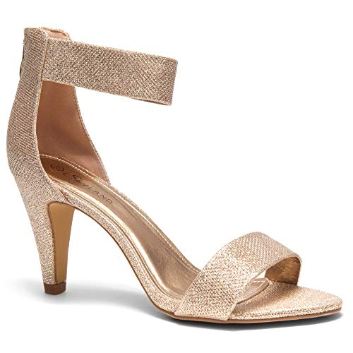Herstyle RROSE Women's Open Toe High Heels Dress Wedding Party Elegant Heeled Sandals Rose Gold 8.0