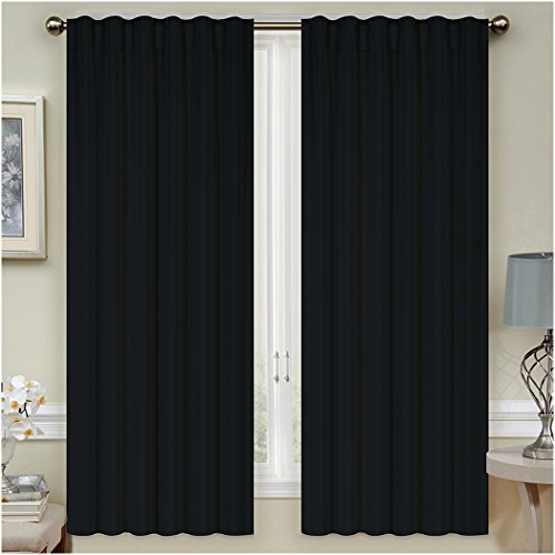 """Mellanni Thermal Insulated Blackout Curtains - 2 Panels - Window Treatments/Drapes for Bedroom, Living Room with Pole Top, 7 Back Loops and 2 Tiebacks (2 Panels, 52"""" x 63"""" Each, Black)"""