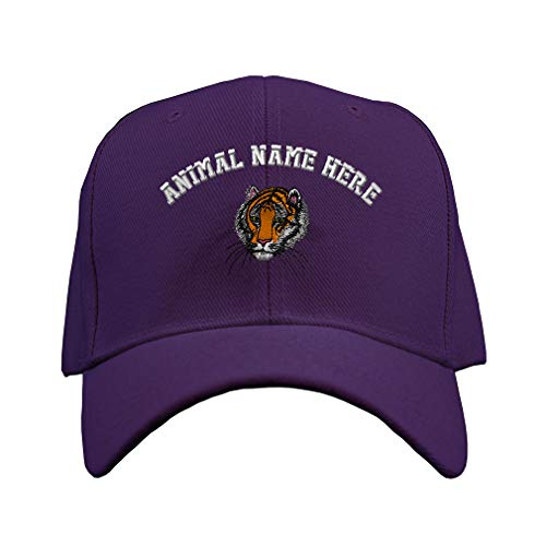 (Custom Baseball Hat Bengal Tiger Head Embroidery Animal Name Acrylic Structured Cap Hook & Loop - Purple, Personalized Text Here)