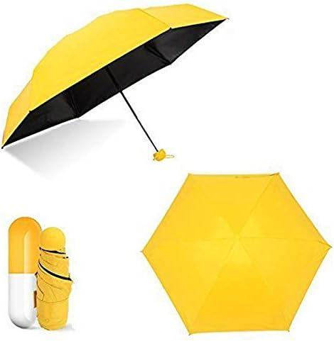 カプセルデザイン折りたたみ傘 ビーサイレンス 選べる3色! 紫外線カット率99% 晴雨兼用 軽量 ミニ傘 日傘 収納ケース付 持ち運び便利 夏 UVカット 紫外線遮断 耐風撥水 通勤 通学 旅行 (イエロー)