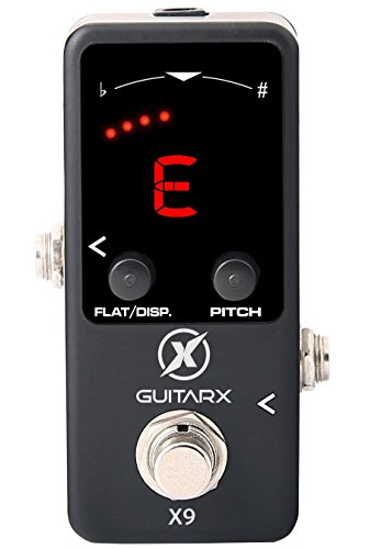 GUITARX X9 - Guitar Tuner Pedal Mini - Chromatic with Pitch Calibration - Also for Bass - Flat Tuning (Power Supply Required)