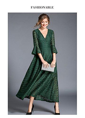 Women`s Cotylédons Robes Lacer Flare Robe En Dentelle Manches Col V Vert