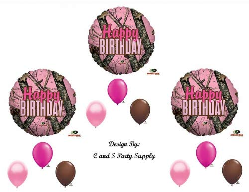 PINK MOSSY OAK Camouflage Happy Birthday Party Balloons Favors Decorations -