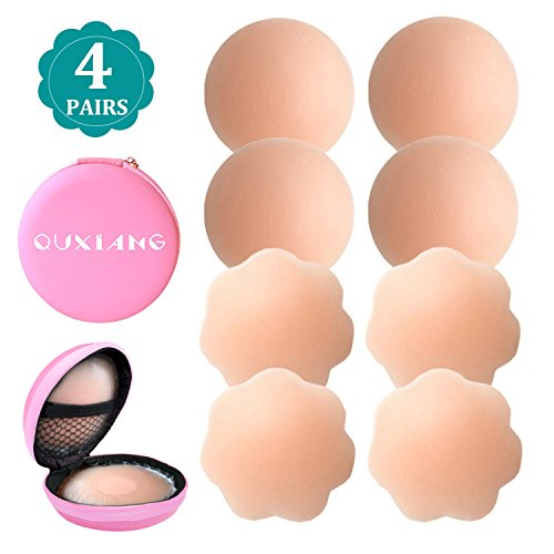 Silicone Petal Tops - 4 Pairs Pasties Women Nipple Covers Reusable Adhesive Silicone Nippleless Covers (2 Round+2 Flower)