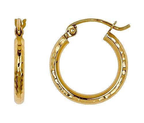 (Small 14k Yellow Gold Diamond Cut Hoop Earrings, (2mm Tube) (15mm))