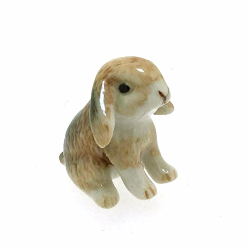 (Animal Miniature Handmade Porcelain Statue Lop Ear Bunny Rabbit Figurine Collectibles Gift)