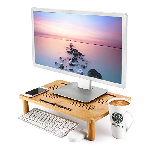 Monitor Stand Bamboo Nnewvante 4-use Adjustable Monitor Riser Laptop Tray Vented Premium Computer Elevation Stands for Laptop/Computer Monitor/PC Monitor/Printer