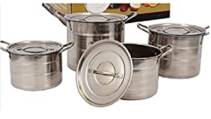 Genesis Essentials 15389 Stockpot Set with Cover Lids, Stainless Steel, Nonstick Cookware, Set of 4, Silver