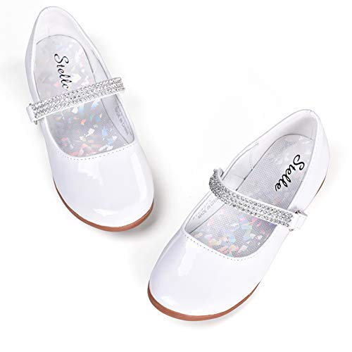 STELLE Girls Mary Jane Shoes Slip-on Party Dress Flat for Kids Toddler (2ML, White) ()