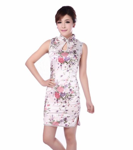 Acvip Pivoines Satin Femmes Fleur Manches Chinois Mini-robe Qipao Blanc