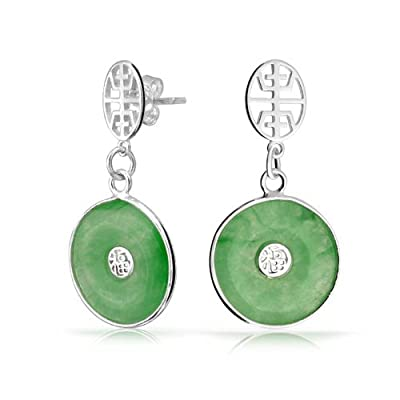 Bling Jewelry Good Fortune Symbol Dyed Green Jade Dangle Earrings 925 Sterling Silver for cheap