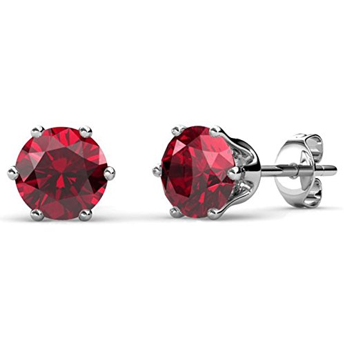 Cate & Chloe January Birthstone Stud Earrings, 18k White Gold Plated Earrings with 1ct Garnet Gemstone Swarovski Crystals, January Birthstone Jewelry for Women Diamond January Birthstone Earrings