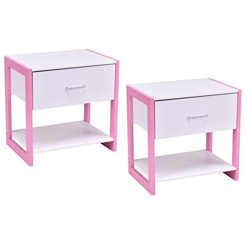 Nightstand End Table Bedside Home Furniture Drawer Open Shelf Storage Set of 2