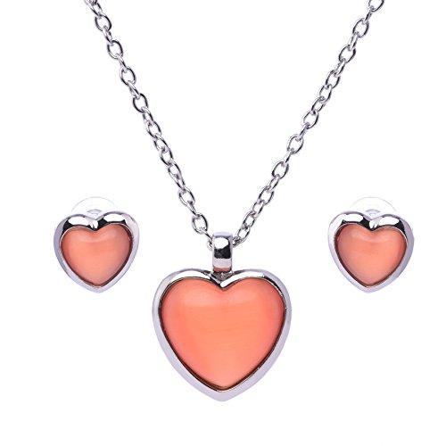 Lisa Hsieh Cat Eye Heart Pendant Necklace Set, Orange CT