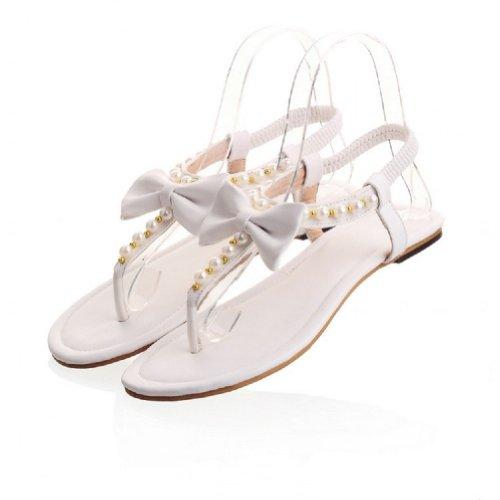Bedel Voet Mode Kralen Bogen Damesslipschoen Neus Platte Sandalen Wit