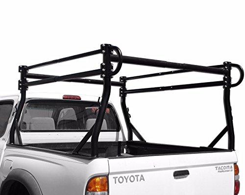 AA-Racks Model X38 Short Bed Truck Ladder Rack Side Bar with no Over-cab Ext. -Matte Black