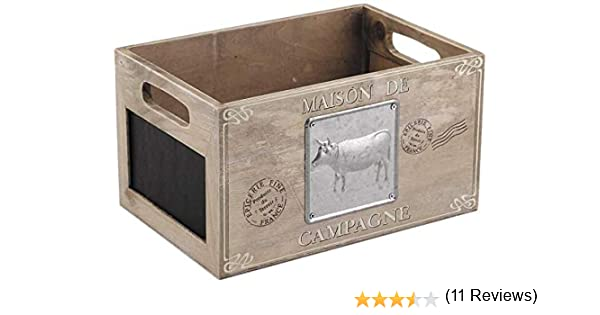 Homes on Trend Caja de Almacenamiento de Madera marrón Caja de cartón Pizarra Rústico Mercado francés Fruta Vegetal Trug Vintage Farm Shop Estilo Contenedor de Madera: Amazon.es: Hogar