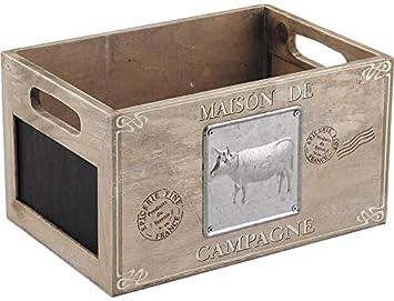 Francés Trug Almacenamiento Caja De Madera Corral Pizarra Chic Vintage Estilo Rustico: Amazon.es: Hogar
