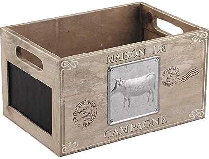 Francés Trug Almacenamiento Caja De Madera Corral Pizarra Chic Vintage Estilo Rustico
