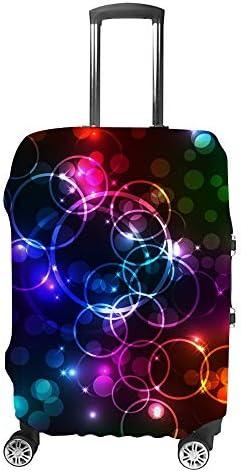 スーツケースカバー トラベルケース 荷物カバー 弾性素材 傷を防ぐ ほこりや汚れを防ぐ 個性 出張 男性と女性黒の背景に抽象的な絞り