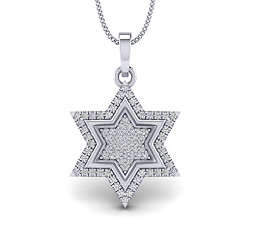 Fehu Jewel 0.31cts Natural Diamond Gold Over Sterling Silver Star Diamond Pendant for Her (White-Gold-Plated-Silver) ()