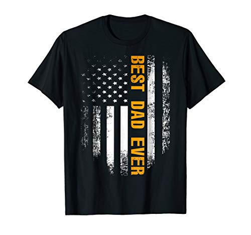 Best Dad Ever T-Shirt American Flag Cool Fathers Day Gift