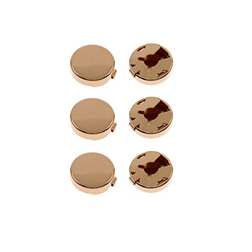 Ms.Iconic 15MM Rose Gold Round Cuff Button Cover Cuff Links for Wedding Formal Shirt 6Pcs/Set