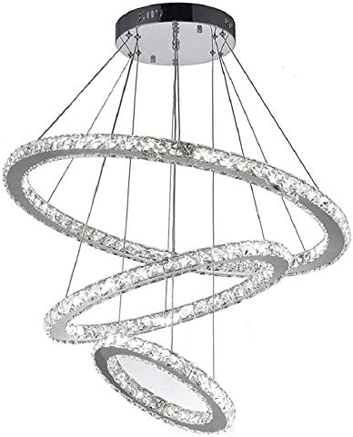120W Contemporary Crystal Chandelier Lighting with LED Dimmer Adjustable Living Room Ceiling Light Fixture Modern Pendant Light 23.6 31.4 39.3