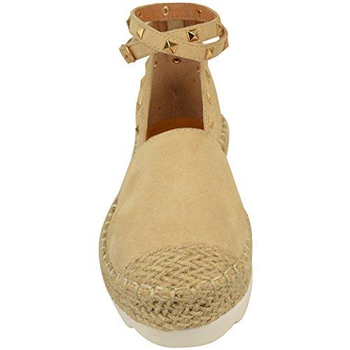 Suède Femmes Espadrilles Faux Stud Couleur Sandales Cheville Les Nu Moulantes Or Nouvelles Boutons Roche D'été Chaussures Taille Dames x4qtw5OwR